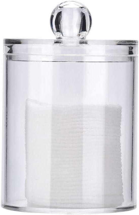 Transparente SANON Porta Almohadillas de Algod/ón Estuche Organizador de Maquillaje Porta Hisopos de Bastoncillo de Algod/ón Y Caja de Almacenamiento de Cilindro Multiprop/ósito con Tapas de Pl/ástico