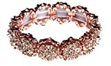 NLCAC Crystal Bracelet Bridal Bangle Bracelet Druzzy Beads Elastic Bracelet for Wedding (rose gold)