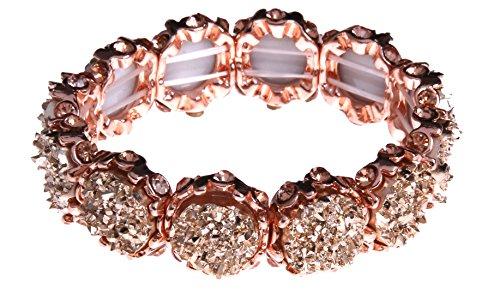 NLCAC Crystal Bracelet Bridal Bangle Bracelet Druzzy Beads Elastic Bracelet for Wedding (rose gold)