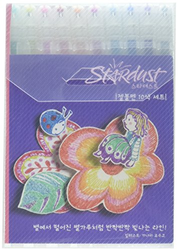 Sakura Gelly Roll Stardust Glitter Gel Pens - Wallet of 10 Assorted Colours - Precious Metals and Unicorn Set