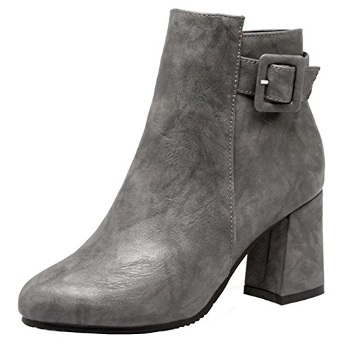 Autumn Heel Buckle Boots Winter Block AIYOUMEI Womens With Booties Ankle Gray qBEIgBwx