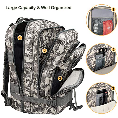 NOOLA Military Tactical Backpack Large Army Rucksack Assault Pack Molle Bag ACU