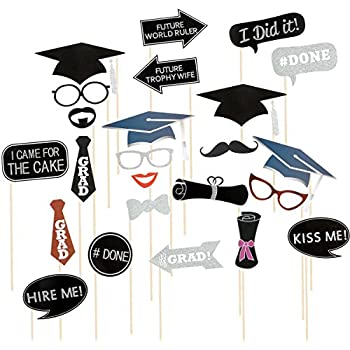 Amazoncom Graduation Photo Booth Props Tinksky 24 Kit Party Favor