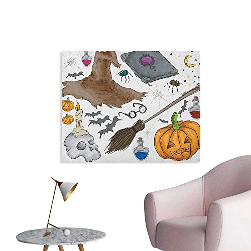 Anzhutwelve Halloween Art Decor Decals Stickers Magic Spells Witch Craft Objects Doodle Style Illustration Grunge Design Skull Space Poster Multicolor W36 xL24 for $<!--$33.00-->