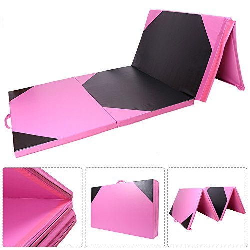 GZYF Black & Pink 4'x10'x2 Gymnastics Gym Tumbling Mat Folding Exercise Mats Stretching Yoga Fitness Mothers Day