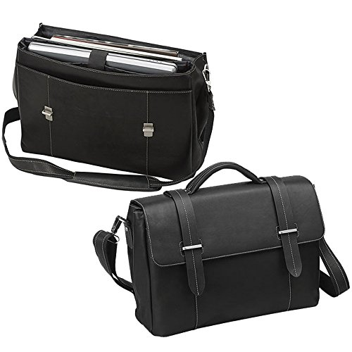 Executive Leather Flap-over Laptop Computer Bag- Black Bellino Flap Over Briefcase