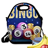 Insulated Neoprene Lunch Bag Background of Bingo Balls in Realistic Style Nice Gift Reusable Soft Lunch Tote for Work and School