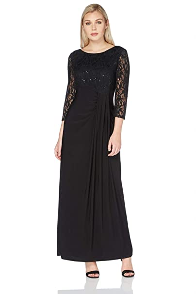 Roman Originals Women Long Evening Gown Dresses Ladies Lace Embellished Maxi Little Black Dress Black Lbd Laces Long Sleeved Pretty Formal Jersey