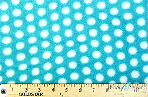 Polka Dot Party Aqua Anti-Pill Polar Fleece - Plush Fabric Polyester 13 Oz 58-60