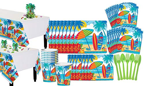 Party City Sun and Surf Beach Summer Party Supplies for 18 Guests, 211 Pieces, Includes Plates, Napkins, Decorating Kit