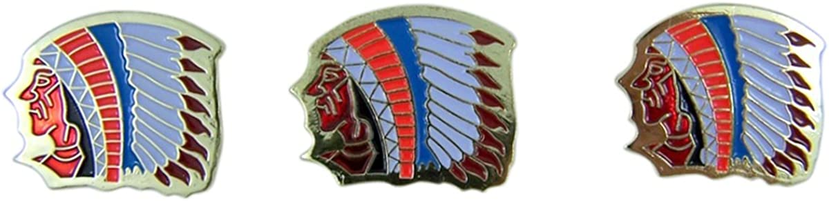 Pack of 3 Indian Chief School Mascot Gold Toned with Enamel Lapel Pin