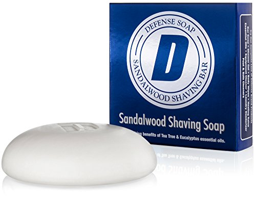Defense Soap Sandalwood Shaving Soap 3.5 Ounce Bar with Aloe Vera, Cocoa Butter, Tea Tree Oil and Eucalyptus Oils ()