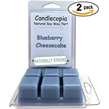Candlecopia Blueberry Cheesecake 6.4 oz Scented Wax Melts - Inviting aroma of baked vanilla cheesecake and mouthwatering blueberries - 2-Pack of naturally strong scented soy wax cubes throw 50+ hours of fragrance when melted in Scentsy®, Yankee Candle® or standard electric tart warmer