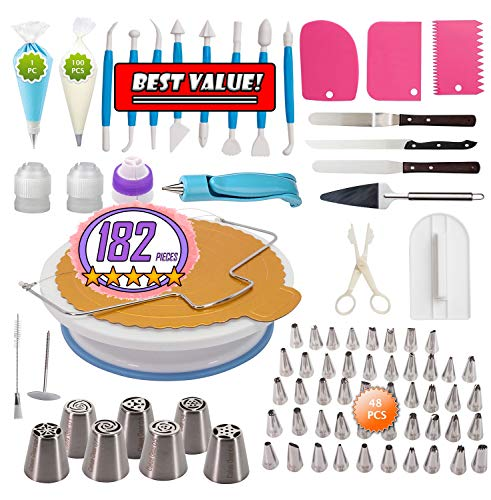 Cakes Decorating Kit 182 Piece Set Includes Cake Turntable, Russian Piping Tips and Bags, Couplers,Icing Pen, Leveler, Decorative Combs and Fondant Tools - Includes Numbered Tips Pattern Chart