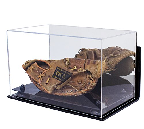 Deluxe Acrylic Baseball Catchers Glove Display Case with Black Risers Mirror and Wall Mount (A011-BR)