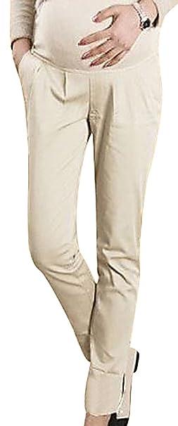 0003a1a74940b MTRNTY Women's Maternity High Elastic Waist Comfortable Elegant Office Pants,  Beige X-Small