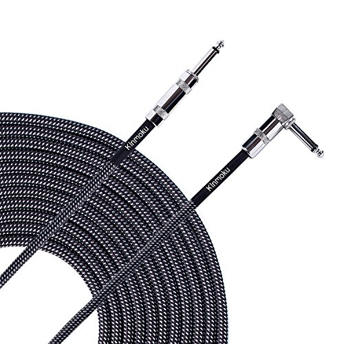 - Kinmoku Guitar Instrument Cable 20 FT TS Solid Bass Cable Standard 1/4 Inch Instrument Cable Braided Jacket Audio Signal Cord Right Angled Jack to Straight Jack Cable for Guitar Amplifier