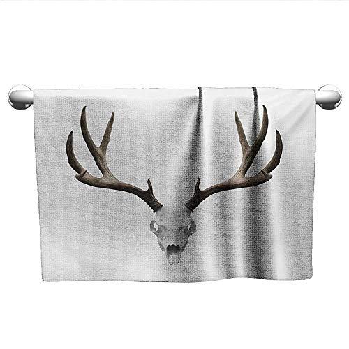 xixiBO Pool Towel W24 x L8 Antlers,A Deer Skull Skeleton Head Bone Halloween Weathered Hunter Collection,Warm Taupe Pale Grey Bathroom Towel Set