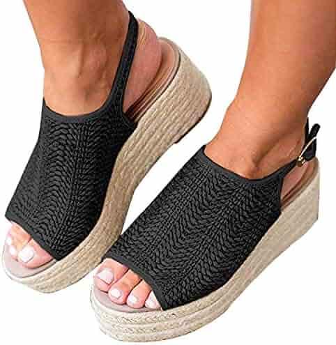 7a84f4a7e Women's Espadrilles Wedge Sandals Open Toe Summer Mid Heel Platform Sandals  Ankle Straps Buckle Flat Sandals