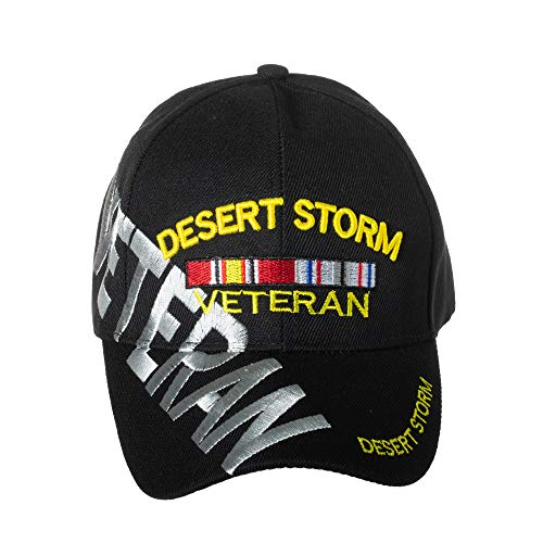 Desert Storm Veteran Baseball Cap BLACK Hat U.S. Army Air Force Marines Navy