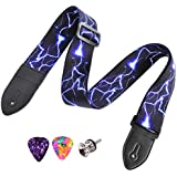 Guitar Strap for Acoustic Classical and Electric Guitar Jacquard Weave (MA-57-Blue lightning)