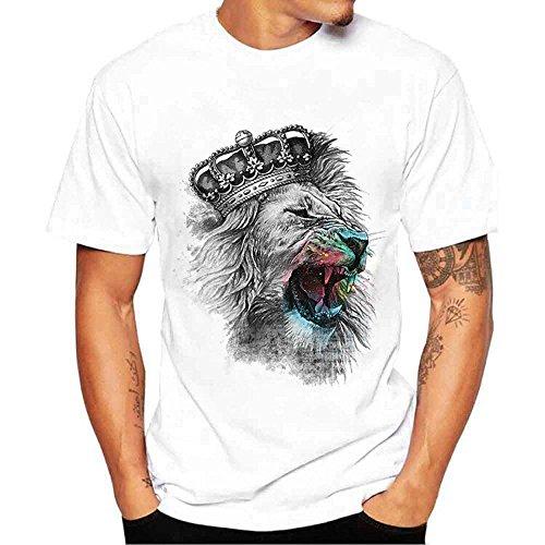 Men's Coat,2019 New Hot Summer Men Tees Shirt Lion Print Short Sleeve T-Shirt Blouse by G-Real White