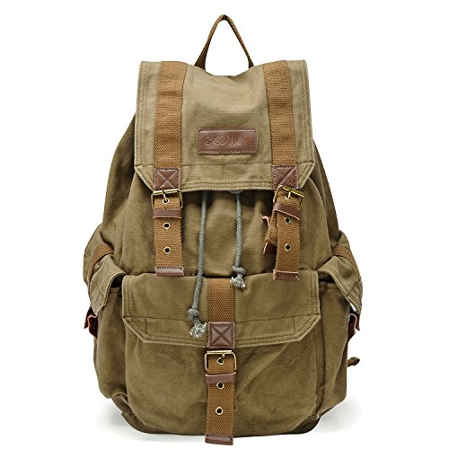 Rucksack Military - Gootium 21101AMG Specially High Density Thick Canvas Backpack Rucksack,Army Green