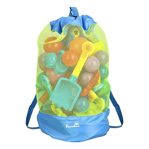 EocuSun Large Mesh Beach Bag Tote Durable Sand Away Drawstring Beach Backpack Swim and Pool Toys Balls Storage Bags Packs, Stay Away from Sand and Water, Toy Not Included, Blue