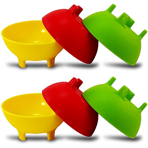 KSEV Salsa Bowls, Plastic Mexican Molcajete Chips Guacamole, Serving Dish, Sauce Cup, Side dish, Snack, Chips, Dip, Nuts or Candy. Great to use at any event. (Multi-Color - 6 Pack)
