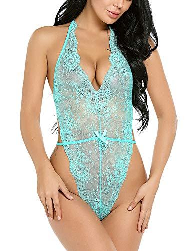 Avidlove Women Nightwear Lace Teddy Lingerie Halter Babydoll Bodysuit Green XXL