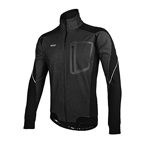 ARSUXEO Winter Thermal Fleece Cycling Jacket Windproof 14D Black Size Large