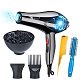 Hair Dryer Professional 3000W Negative Ionic Low Noise Hairdryers with Diffuser,Nozzle and Comb US Made Lab Tested – Amazon Vine