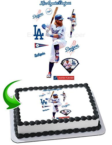 Justin Turner Los Angeles Dodgers Edible Image Cake Topper Icing Sugar Paper A4 Sheet Edible Frosting Photo Cake 1/4 ~ Best Edible Image for cake