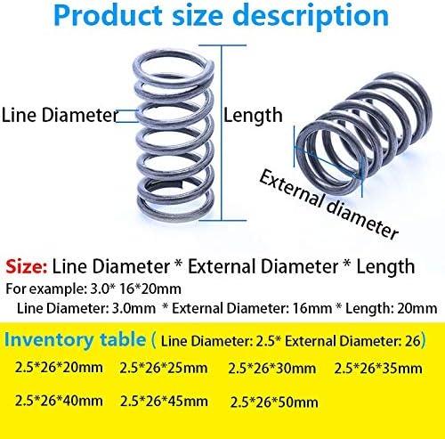 ZZB-LSTH, 5Pcs Loslassen Federdruckfederdruck Feder Linie Durchmesser 2,5 mm, Außendurchmesser 26mm, Länge 20mm-50mm Factory Outlet (Size : 30mm(5Pcs))