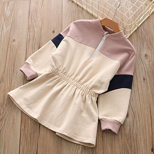 New Children's Wear Girl'S Color Dress Children's Sports Long Sleeve Dress,Pink,6