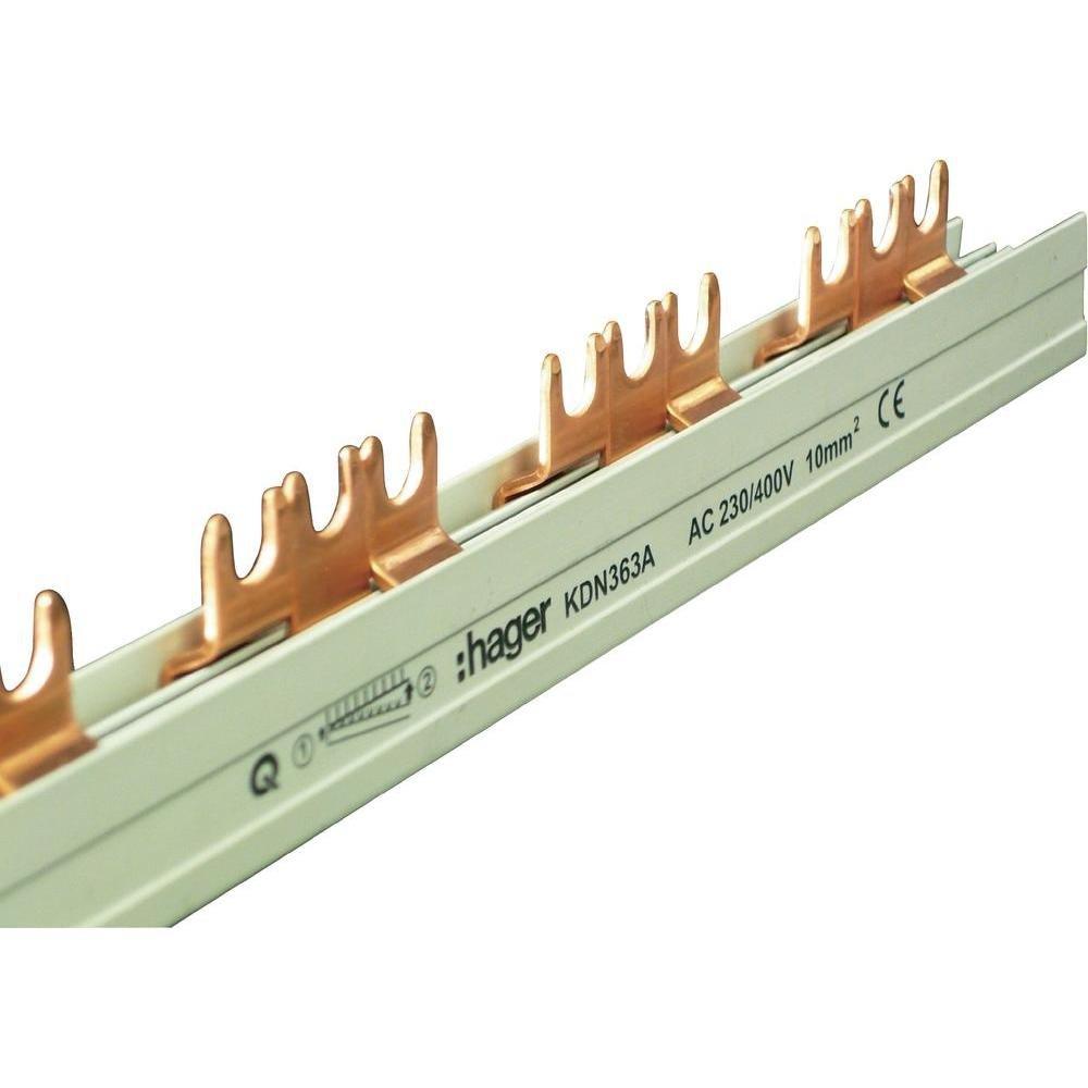 Hager KDN363A Phasenschiene 3P 63A 10qmm 12 Einh.Gabelanschluss isoliert grau