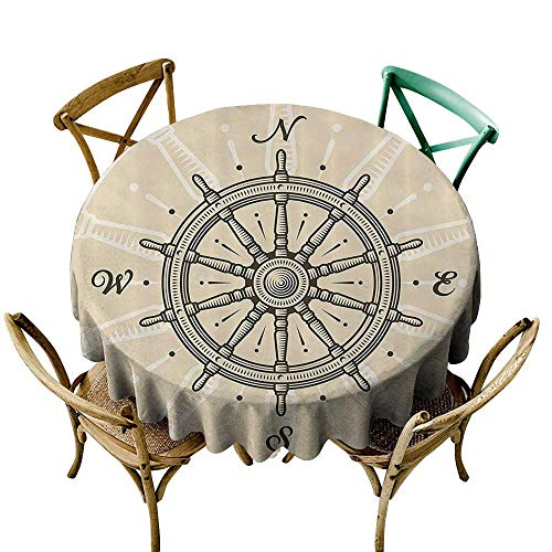 Spill-Proof Table Cover Ships Wheel Decor Vintage Ship Wheel Antique Sailboat Navigation Tool Monochromic Nostalgic Deco Dinner Picnic Table Cloth Home Decoration 60 INCH Olive Green and -