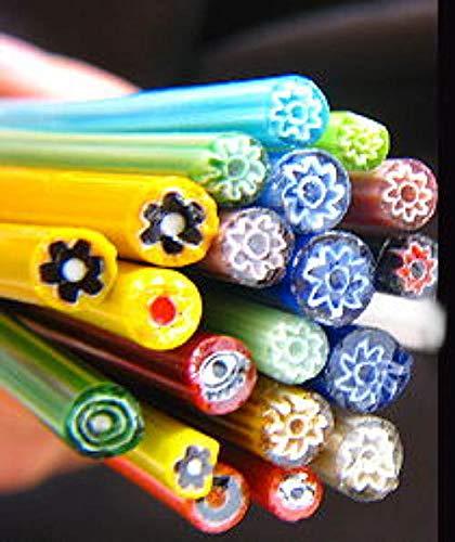 Devardi Glass 1/2 lb Millefiori Chevron COE 104 Glass Rods, Lampwork, Beadmaking (Lampwork Rods Glass)