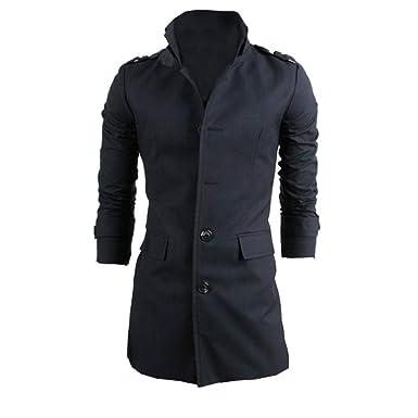 ZODOF Chaqueta de Hombre Chaqueta de los Hombres cálido Invierno Trinchera Largo Outwear botón Elegante Abrigo M-2XL: Amazon.es: Ropa y accesorios
