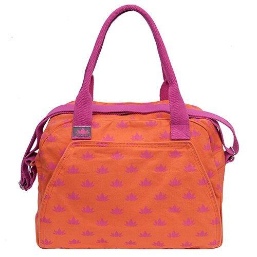 Om Padma Spa Bag Party Mini Tote Bags Womens Accessory Bag Orange and Pink lotus print Travel Make-up Bag by Om Padma