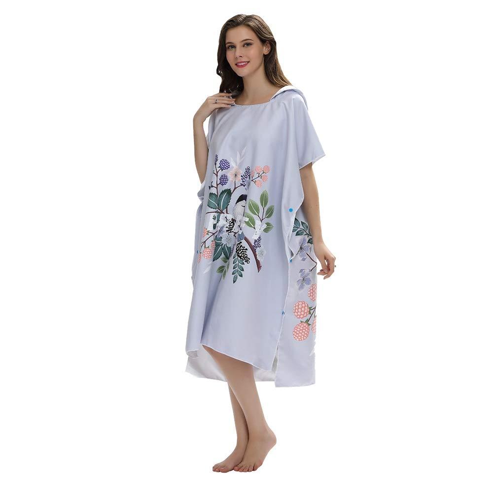 Aiyawear Womens Poncho Towel Windproof Warm Bathrobe, Microfiber Dressing Bathrobe, Women's Hooded, Quick-Drying Beach Cloak Wetsuit Changing Towel Robe (Color : Gray, Size : 110x80CM) by Aiyawear