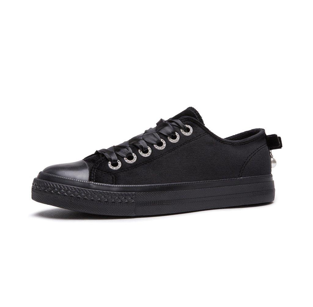 Flanela Bowknot Encaje Con Zapatos Planos Alumno Casual Breathable Skate Shoes Señoras Cómodo Bajo Para Ayudar Zapatos ( Color : Negro , Tamaño : 36 ) 36 Negro