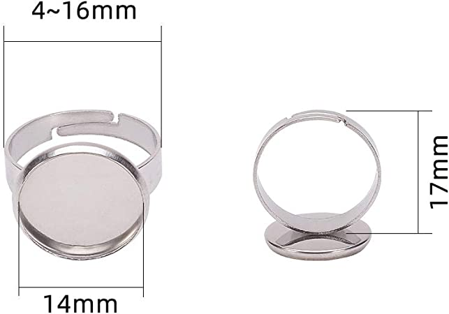50pcs antique bronze color 18mm diameter ring blank with 14x10mm oval flat pad ring base bezel ring settings pad AR3