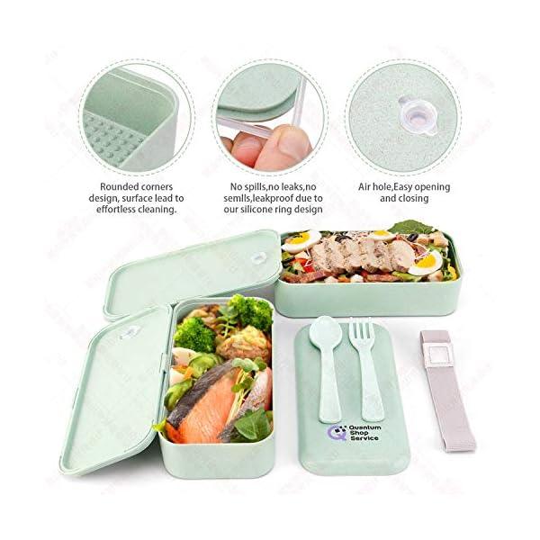 Quantum Lunch Box – salvagoccia e Senza BPA – Jausen Box per Bambini e Adulti – Bento Box con Posate, Bottiglia d'Acqua… 4 spesavip