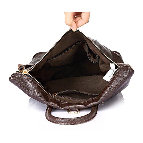 casual main college Sacs Marron Cartable Mode à Elégant femme 1 grande femmes cuir véritable en Noir à dos sac PpHP8qf