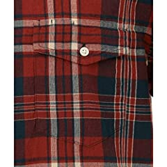 J. Press Madras Short Sleeve Button Down Shirt with Flap Pocket HHOVKM0427: Burgundy