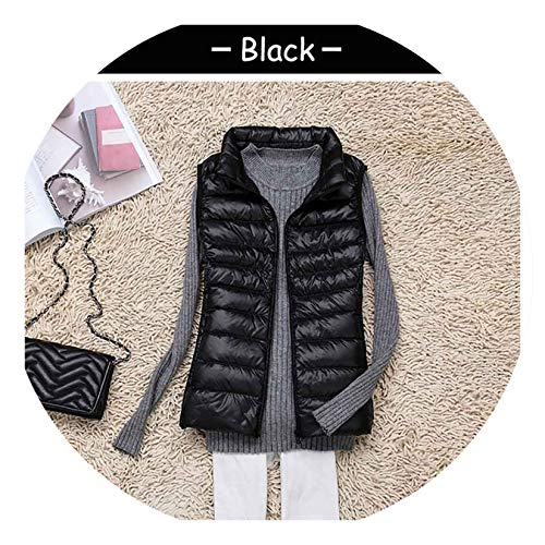 (White Duck Down Vest Women Winter Ultra Light Down Vest Sleeveless Slim Short Jacket Coats,Black,L)