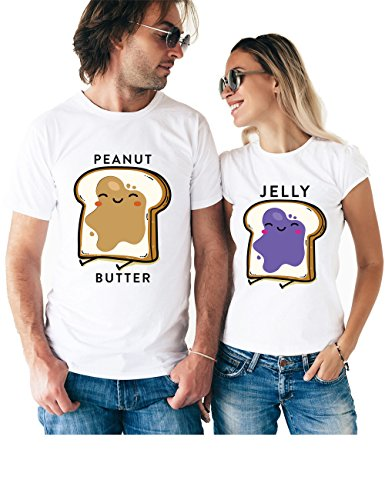 Peanut Butter & Jelly Matching Couple T Shirts - His and Hers Custom Shirts - Couples Outfits for Him and Her ()