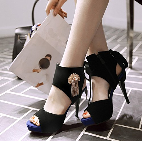 Aisun Womens Stylish Chains Pendant Peep Toe Platform Lace Up Stiletto High Heels Sandals Shoes Black msplg
