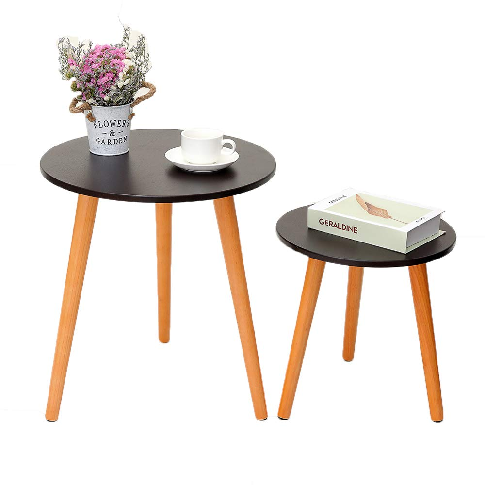 IWELL Nesting Tables Coffee End Tables Set of 2 for Living Room, Sofa Table Side Table with Rubber Wood Leg,Sturdy and Easy Assembly,Brown and Natural BZX001X by Iwell